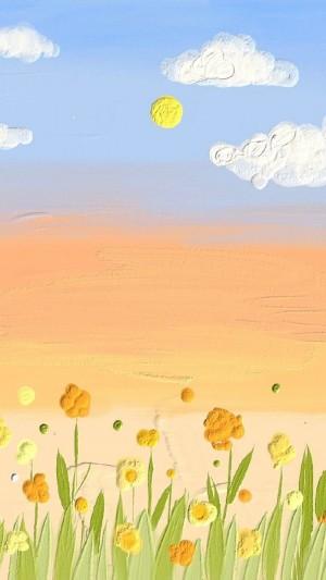 小清新唯美手繪花朵圖片手機壁紙