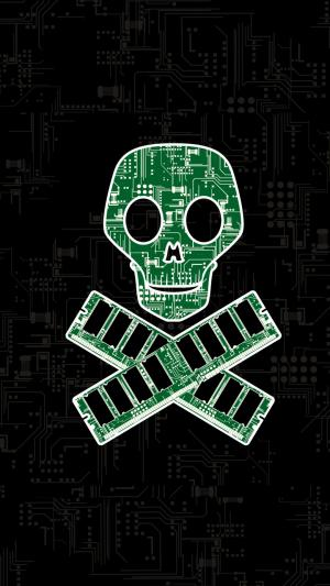骷髅头电路板手机最炫酷的黑客壁纸