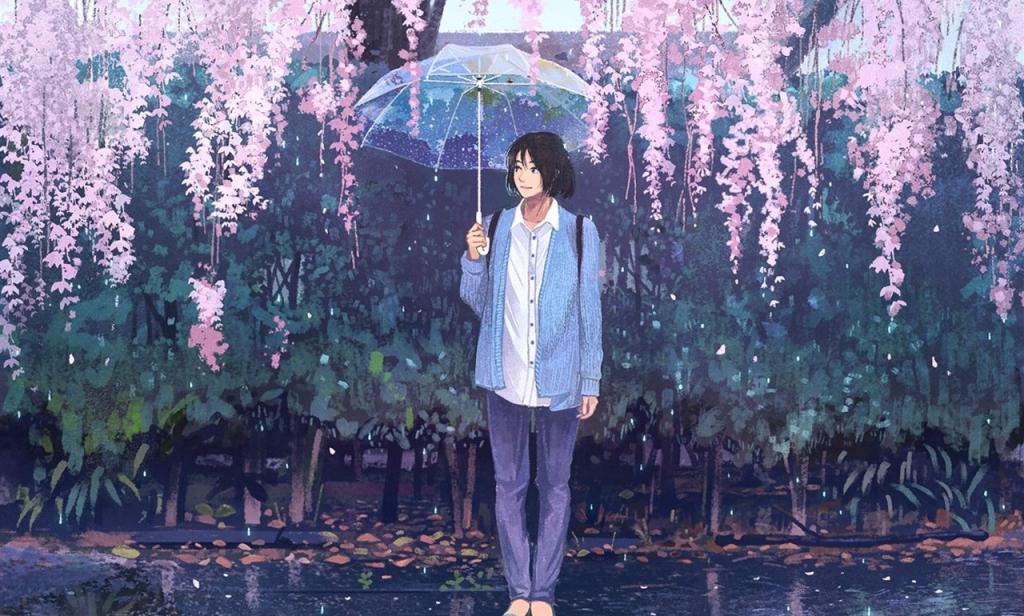唯美下雨漫画图片