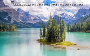 2019年10月湖泊秀美图片日历壁纸