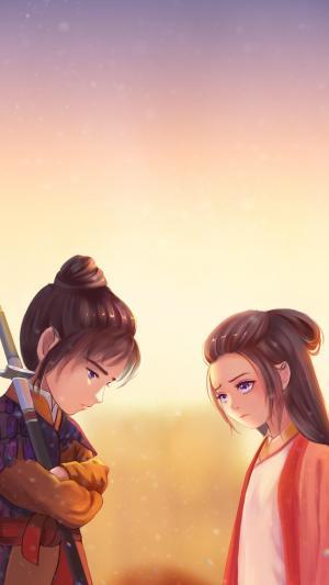 《大话西游》紫霞至尊宝手绘萌系唯美插画