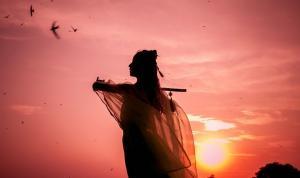 颐和园古装拿萧性感女子夕阳剪影