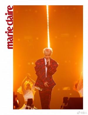蔡徐坤暗红色格纹西装复古迷人舞台照图片