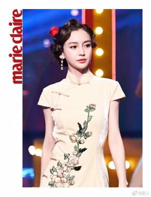 angelababy素色简单绣花丝绒面旗袍美艳逼人写真图片