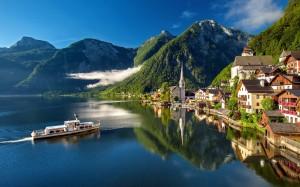 奥地利哈尔施塔特小镇独特风景桌面壁纸