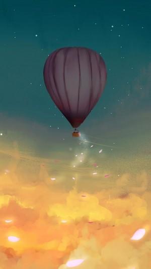 浪漫热气球梦幻二次元场景