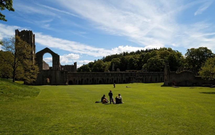 英国喷泉修道院建筑风景时尚图片