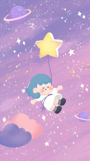 紫色星空夢幻少女心插畫手機壁紙