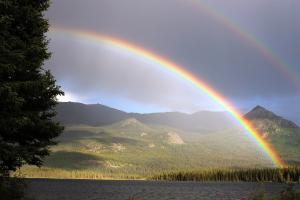 彩虹 双彩虹 不列颠哥伦比亚省帕默湖 风景图片