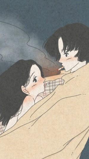浪漫小情侶手繪插畫手機壁紙
