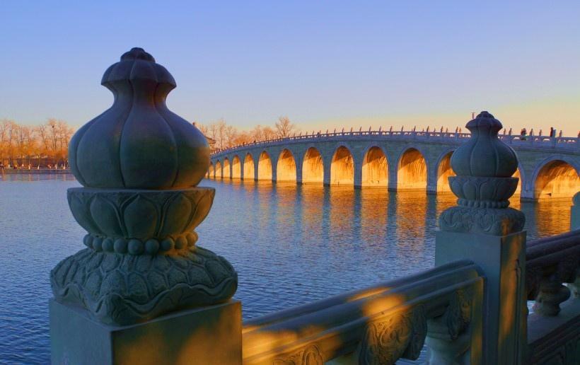 北京颐和园十七孔桥风景