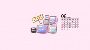 2021年8月粉色系可爱卡通日历壁纸图片