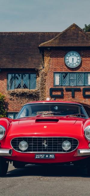 复古型红色法拉利跑车手机壁纸