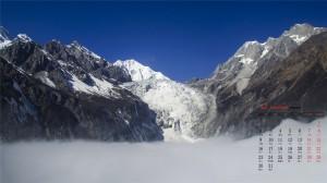 2019年12月唯美迷人雪山日历图片壁纸