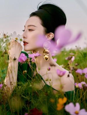 范冰冰翡翠绿塔夫绸长袍冷艳高贵写真图片