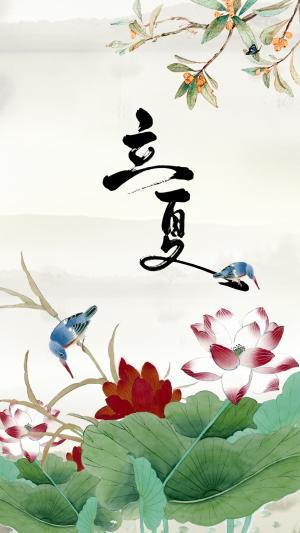 立夏中国风荷花池插画