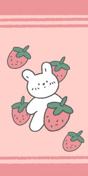 粉萌清甜小兔叽可爱手绘手机壁纸
