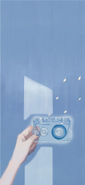 蓝色小清新手绘壁纸