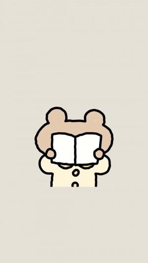 卡通可爱图标奶茶色背景手机壁纸