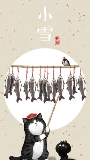 小雪时节之小猫插画
