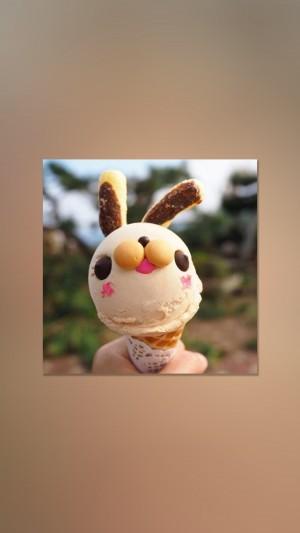 简约清新ins风萌兔冰淇淋手机壁纸