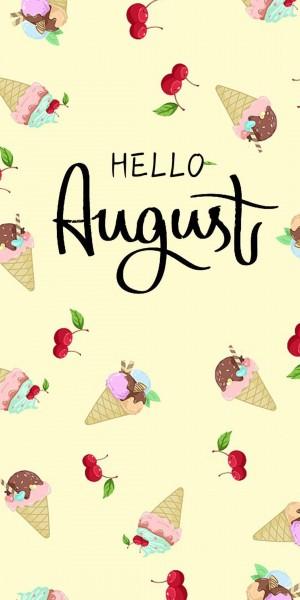 八月你好,可爱冰淇淋卡通插画