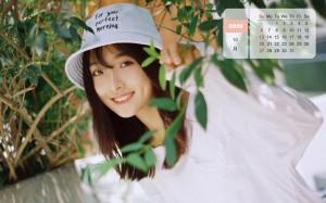 2019年10月清新美女日历图片壁纸