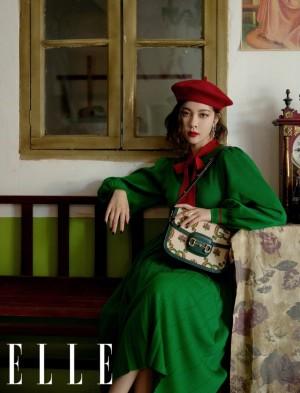 宋妍霏墨绿色连身裙复古时尚魅力写真图片