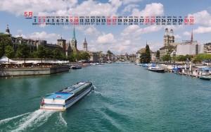 2020年5月苏黎世优美风景图片日历壁纸