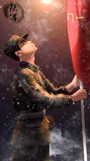 八一建军节帅气军人插画