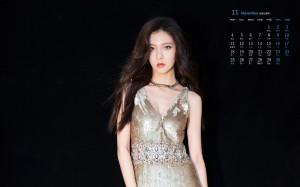 2019年11月宋妍霏亮片裙时尚写真日历壁纸