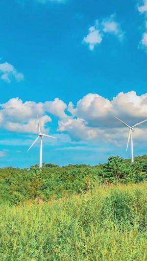 清新迷人的风车自然风光