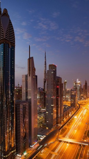 繁华都市迪拜璀璨夜景