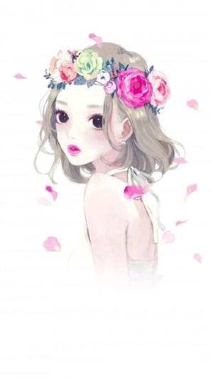 头戴花环的大眼动漫少女手绘壁纸图片