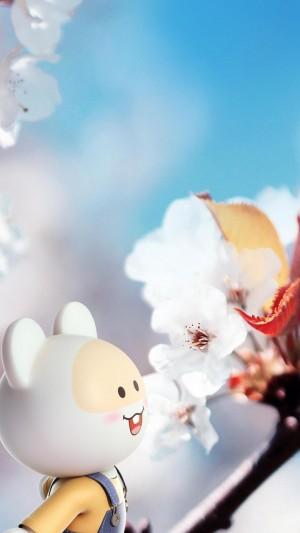 欣赏浪漫樱花的笨笨鼠