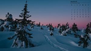 2022年1月唯美雪景日历壁纸图片