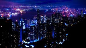 唯美的城市摩天大楼夜景