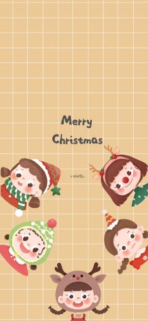 圣诞节可爱卡通插画手机壁纸