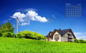 2019年3月荷兰风车唯美风景日历桌面壁纸