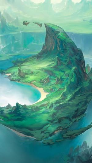 绿色小清新奇幻手绘风景插画