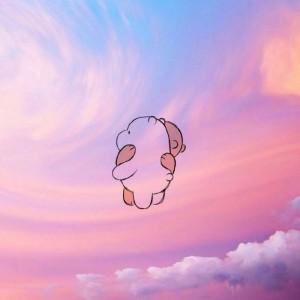 粉色梦幻少女系天空配卡通动漫人物唯美意境图片
