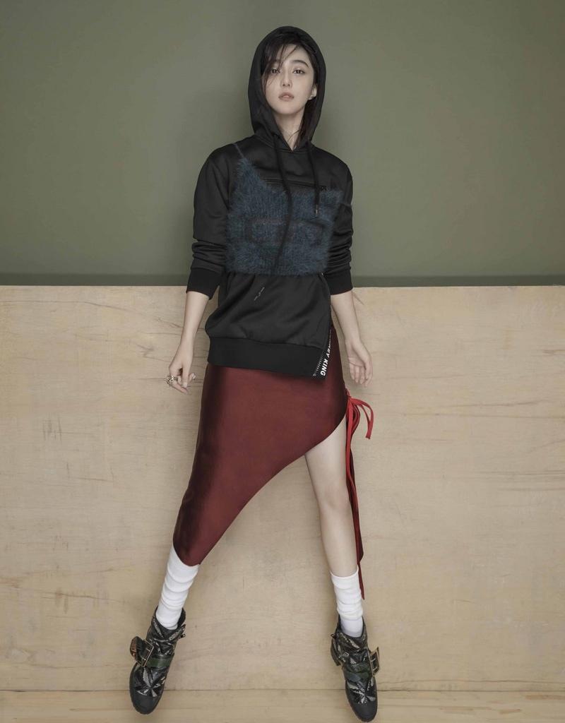 范冰冰时髦皮衣帅气迷人时尚写真