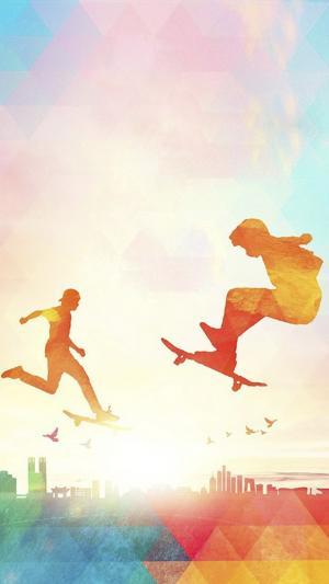 梦幻彩绘跳跃五四青年节壁纸