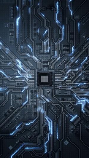 科技风电脑线路板创意手机壁纸