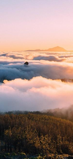 夕阳下的云海