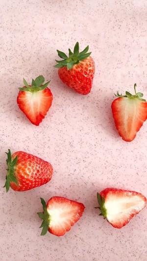 草莓粉红少女心锁屏