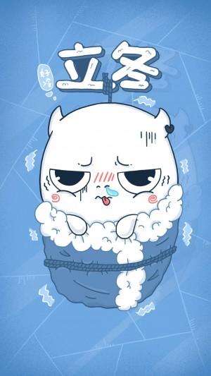 立冬之天气寒冷卡通创意图片壁纸