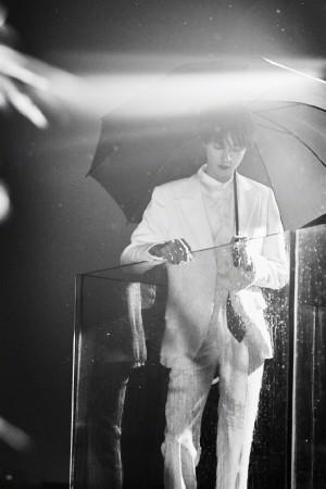 官鸿雨中撑伞氛围感大片