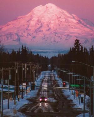 阿拉斯加的粉色唯美夕阳 