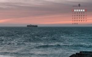 2021年8月唯美迷人的大海景色日历壁纸